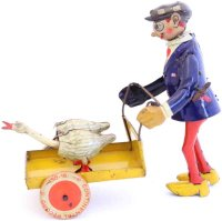 Distler Tin-Clowns Clown is walking 2 geese in a...