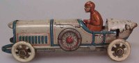 Distler Tin-Penny Toy Race car #214, with driver,...