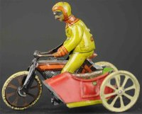 Kellermann Tin-Penny Toy Motorcycle with side car,...