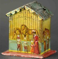 Unknown Tin-Penny Toy House as mechanical money box, with...