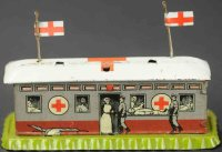 Distler Tin-Penny Toy Military hospital on green pedestal...