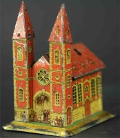 Unknown Tin-Penny Toy Church with two towers as bank....