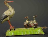 Fischer Georg Tin-Penny Toy Stork with nest. Articulated...