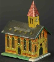 Unknown Tin-Penny Toy Church with steeple as bank  Made...
