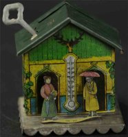Unknown Tin-Penny Toy Weatherhouse as money box with...