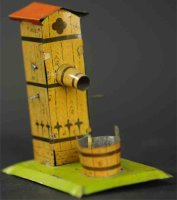 Unknown Tin-Penny Toy Water pump and bucket on light...