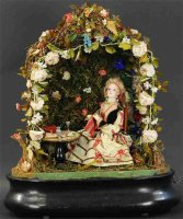 Phalibois Tin-Automata Lady in garden with needlework....