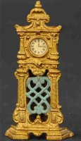 Hubley Cast-Iron-Mechanical Banks Ornate hall clock with...