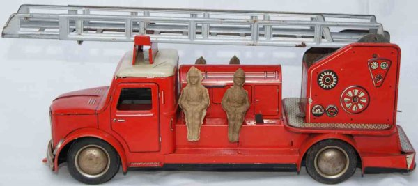 Hoch & Beckmann Tin-Fire-Truck Fire service ladder wagon, lithographed in red, white and bl
