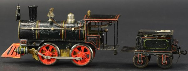 Maerklin Railway-Locomotives American style clockwork locomotive 0-4-0 with tender, early