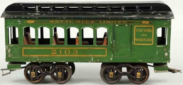 Voltamp Railway-Passenger Cars Combine car #2103 with eight wheels, early flat end car in g