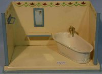 Kibri Tin-Toys Sheet metal bathroom, hand painted in...
