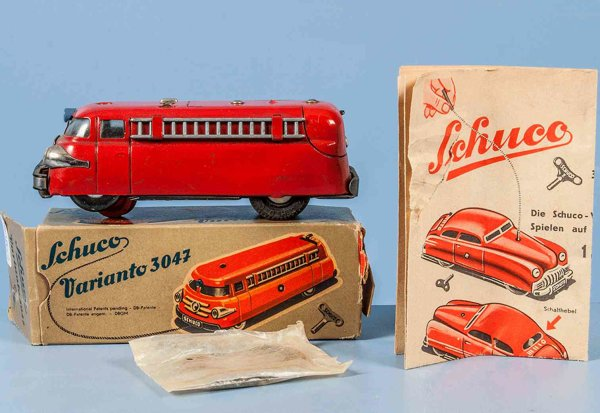 Schuco Tin-Fire-Truck Varianto fire car #3117 with electric drive. Made of sheet m