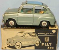 Bandai Tin-Cars Fiat 600 #743 with flywheel drive. Made...
