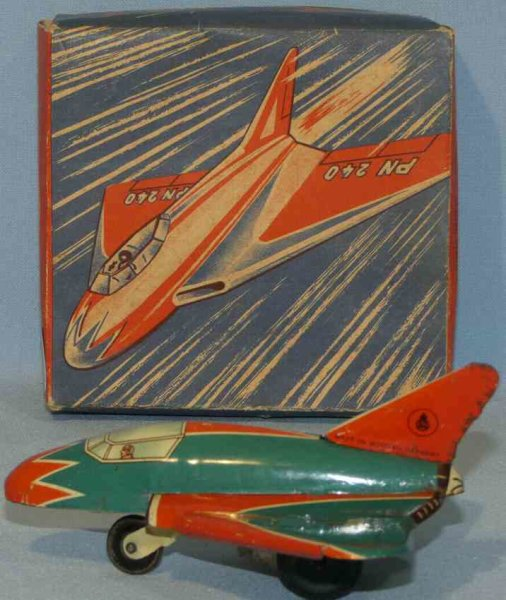 Niedermeier Philipp Tine Ariplanes Small fighter with flywheel drive and original box. Made of