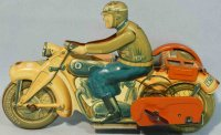 Tippco Tin-Motorcycles Motorcycle with sidecar #587 and...