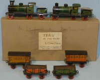 Fischer Georg Tin-Penny Toy 2 locomotive 291 with 4 cars,...