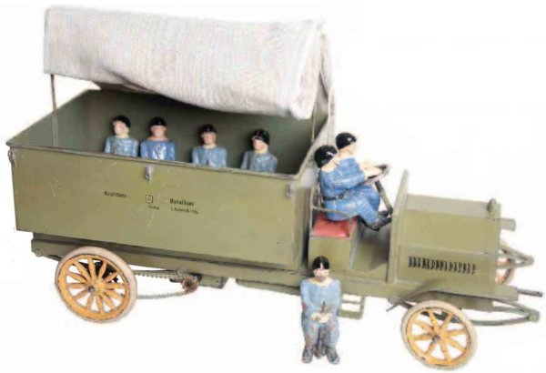 Maerklin Military-Vehicles Military truck #8838/2 with clockwork drive, driver and 5 so