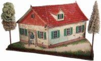 Maerklin Tin-Toys Farmhouse #8130 as a target. Shooting...
