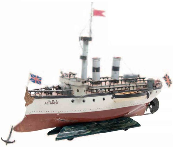 Maerklin Tin-Ships Warship Albion #1092 with clockwork, handpainted in brown an