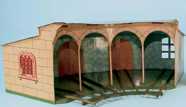 Maerklin Railway-Engine Sheds Roundhouse #02114/II El for four locomotives, handpainted in