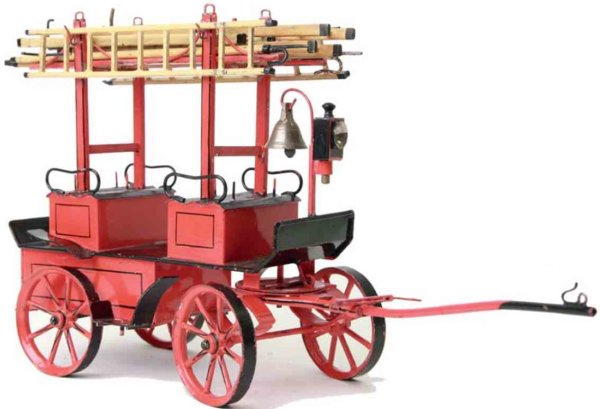 Maerklin Tin-Carriages Fire department crew car #8255, with 6 ladders and 2 fire ho