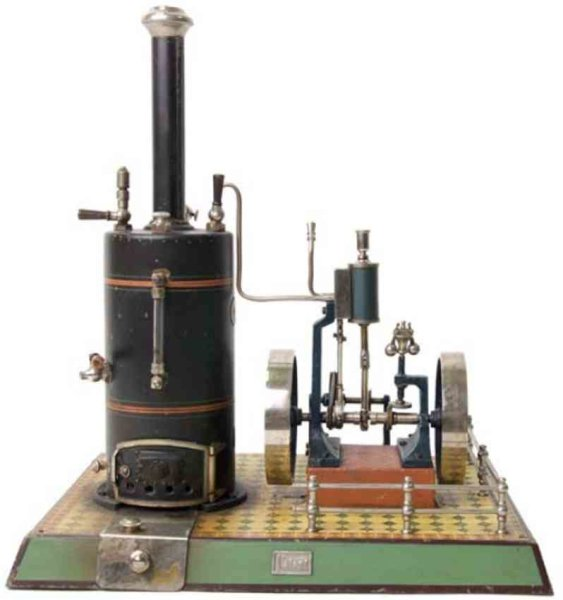 Maerklin Steam-Toys-Vertical-Steam-Engines Vertical steam engine #4123/8 with transmission. Painted