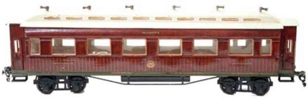 Maerklin Railway-Passenger Cars Dining car #1946/1 with eight wheels, hand-painted in teak b
