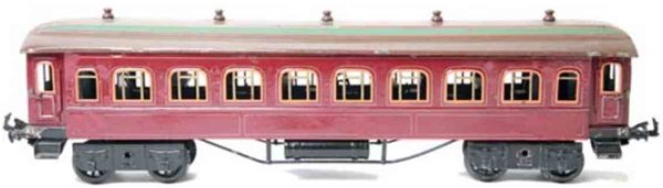 Bing Railway-Passenger Cars Dining car #10/538 with eigt wheels, red hand-coated, with i