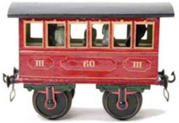 Maerklin Railway-Passenger Cars Passenger car #1805/2 with four wheels, handpainted in red,