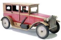 Bing Tin-Oldtimer Limousine #10/4128 red, wind-up toy, it...