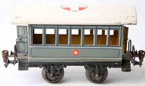 Maerklin Railway-Passenger Cars Ambulance car #1828/1 with four wheels,; hand-painted in lig