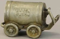 Unknown Cast-Iron-Mechanical Banks Water wagon car still...