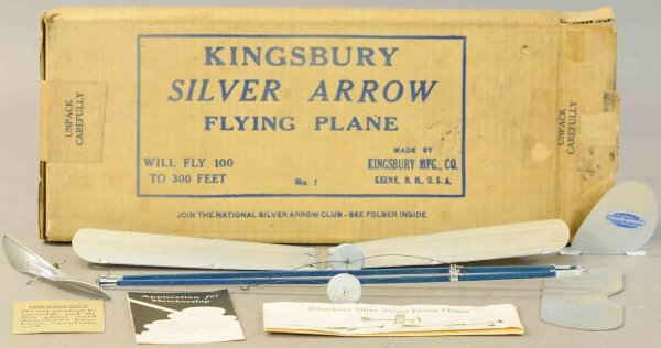 Kingsbury toys Wood-Airplanes Silver arrow #1 flying airplane with box, made of balsa wood