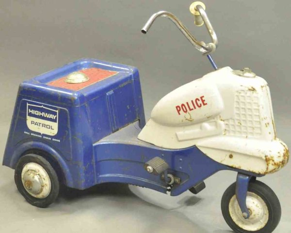 Murray Tin-pedal cars Pressed steel police pedal cycle toy, stickers read HIGHWAY