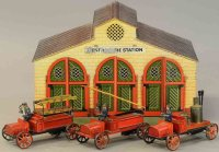 Bing Tin-Fire-Truck Fire station with three fire trucks,...