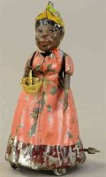 Guenthermann Tin-Figures Woman with basket and wind-up...