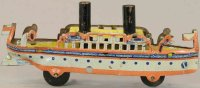 Distler Tin-Penny Toy Passenger boat in white, yellow,...