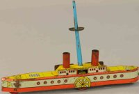 Levy George (Gely) Tin-Penny Toy Large paddle wheel boat,...