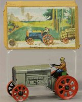 Distler Tin-Penny Toy Large wind-up tractor with driver...