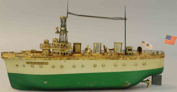 Orkin Tin-Ships Antique destroyer D2 wind-up toy, made of pressed steel, wou