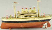Carette Tin-Ships Ocean liner with wind-up motor, 2 masts...