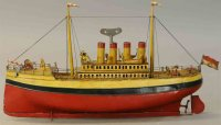 Carette Tin-Ships Four stack ocean liner with wind-up...