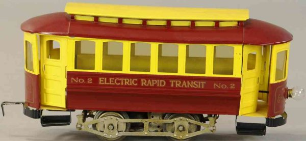 Lionel Tin-Trams Electric rapid transit trolley #2.3, body in red with a yell