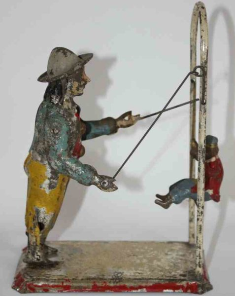 Guenthermann Tin-Figures Monkey with trainer, wind-up toy, made of hand painted tin,