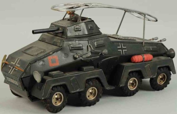 Hausser (Elastolin) Military-Vehicles Radar tank, made of lithographed tin, wind-up toy. Includes
