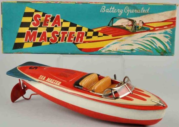 Kato Sairen KKK Tin-Ships Sea master boat, battery-operated, made of lithographed tin.