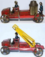 Fischer Georg Tin-Penny Toy Early fire truck pair, rare,...