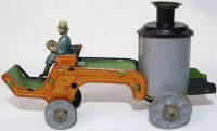 Distler Tin-Penny Toy Fire service tank wagon with red...