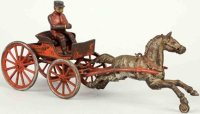 Hubley Cast-Iron-Carriages Horse drawn fire chief cart...